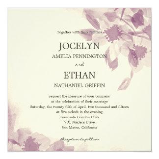 """Watercolor Floral Wedding Invitation 5.25"""" Square Invitation Card"""