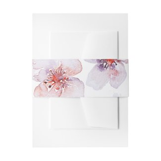watercolor floral wedding invitation belly band