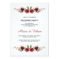 Watercolor Floral Wedding party invitation card