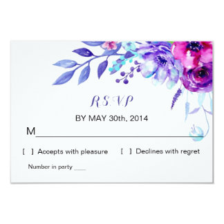 Watercolor Floral Wedding | R S V P Reply Card