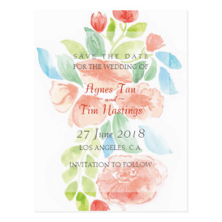 WATERCOLOR FLORAL WEDDING Save The Date: Agnes Postcard