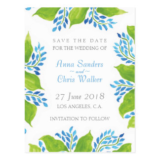 WATERCOLOR FLORAL WEDDING Save The Date: Anna Postcard