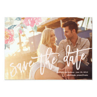 WATERCOLOR FLORAL WEDDING Save the Date Card