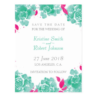 WATERCOLOR FLORAL WEDDING Save The Date Postcard