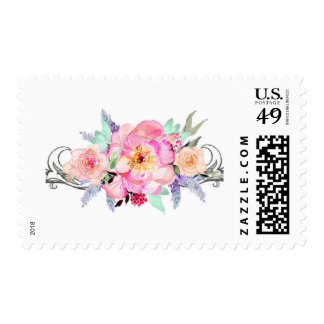 Watercolor Floral Wedding Stamp