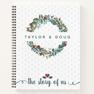 Bride Themed Watercolor Floral Wedding Story of Us Journal