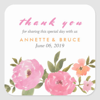 Watercolor Floral Wedding Thank You Square Sticker