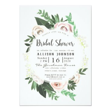 Bride Themed Watercolor Floral White Green Bridal Shower Card
