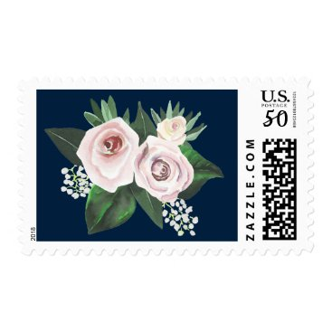 Bride Themed Watercolor Floral White Green Postage Stamp