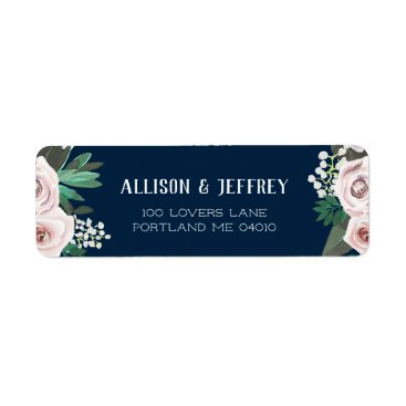 Bride Themed Watercolor Floral White Green Return Address Label