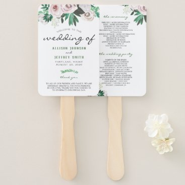Bride Themed Watercolor Floral White Green Wedding Program Hand Fan
