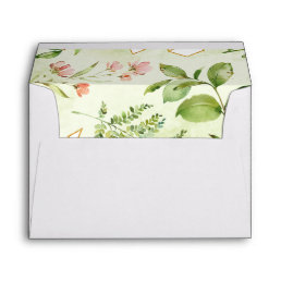 Watercolor Floral Wild Green Foliage Wedding Envelope