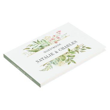 Wedding Themed Watercolor Floral Wild Green Foliage Wedding Guest Book