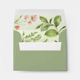 Watercolor Floral Wild Green Foliage Wedding RSVP Envelope