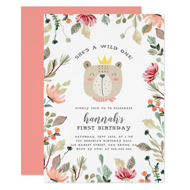 Watercolor Floral Wild One Bear First Birthday Invitation