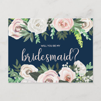 Watercolor Floral Will You Be My Bridesmaid Card