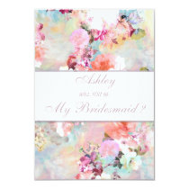 Watercolor Floral Will you be my Bridesmaid Invitation
