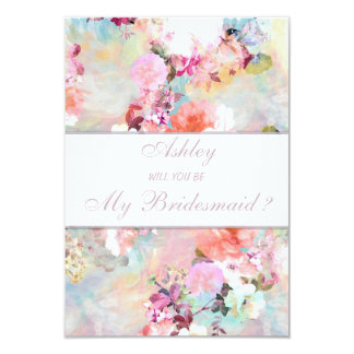 Watercolor Floral Will you be my Bridesmaid 3.5x5 Paper Invitation Card