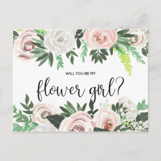 Watercolor Floral Will You Be My Flower Girl Card
