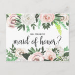 """Watercolor Floral Will You Be My Maid Honor Card<br><div class=""""desc"""">Ask your friends and family to be a part of your wedding with this watercolor floral &quot;Will You Be My Maid of Honor&quot; card featuring white and pink roses and carnations with forest green leaves and pretty,  feminine,  hand-drawn calligraphy script.</div>"""
