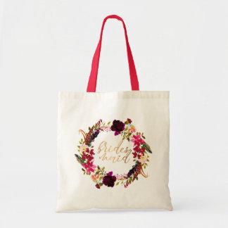Watercolor floral wreath Bridesmaid tote gift