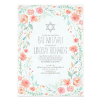 Watercolor Floral Wreath Garden Bat Mitzvah Card