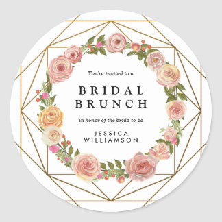 Watercolor Floral Wreath Geometric Bridal Brunch Classic Round Sticker