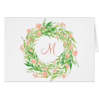 Watercolor Floral Wreath Monogram Card