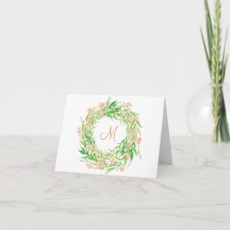 Watercolor Floral Wreath Monogram Note Card