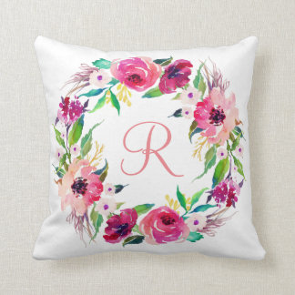 Watercolor  Floral Wreath Monogram Throw Pillow