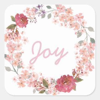 Watercolor Floral Wreath Square Sticker