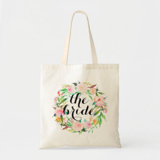 watercolor floral wreath|the bride tote bag