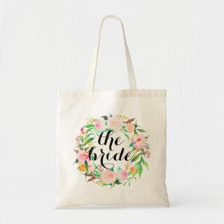 watercolor floral wreath the bride tote bag
