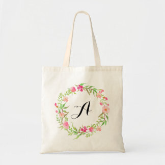Watercolor Floral Wreath Wedding Welcome Tote Bag