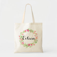 Watercolor Floral Wreath Wedding Welcome Tote Bag at Zazzle