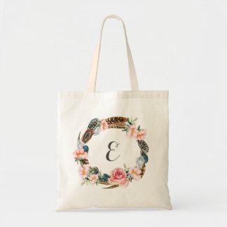Watercolor Floral Wreath with Feathers | Monogram Tote Bag