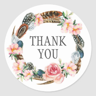 Watercolor Floral Wreath with Feathers | Thank You Classic Round Sticker