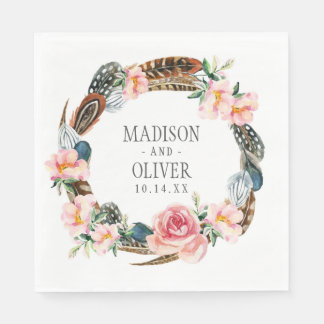 Watercolor Floral Wreath with Feathers | Wedding Paper Napkin