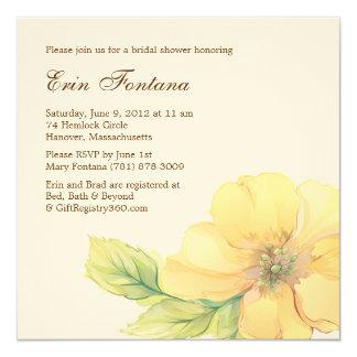 """Watercolor Florals Bridal Shower Invitation 5.25"""" Square Invitation Card"""