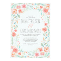 Watercolor Florals Elegant and Simple Wedding Card