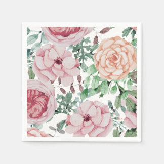 Watercolor Florals Mauve Cocktail Wedding Napkins