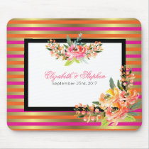 Watercolor Florals on Pink Orange and Gold Stripes Mouse Pad