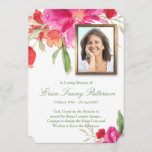 """Watercolor Florals &amp; Photo Funeral Thank You Card<br><div class=""""desc"""">This beautiful Watercolor Florals Funeral Thank You Card can be used for many different occasions. Fully personalized with your loved one&#39;s details, photo, verse, prayers and thank you message. You can easily change text (color, font style, size and position) and photo by clicking the customise button. Available in matching Memorial...</div>"""