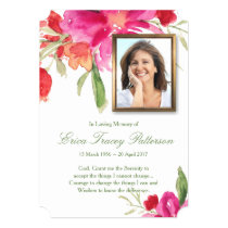 Watercolor Florals & Photo Funeral Thank You Card