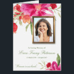 """Watercolor Florals &amp; Photo Sympathy Greeting Card<br><div class=""""desc"""">This beautiful Watercolor Florals Folding Sympathy Thank Card can also be used for many other occasions. It is a fully personalized sympathy thank you card. You can easily change the photo and text (color, font style, size and position) by clicking the customise button. Available in matching Memorial Service invitation, Sympathy...</div>"""