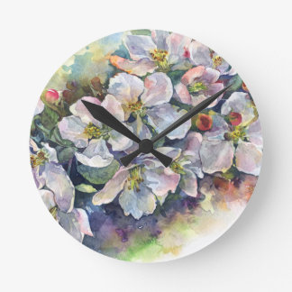 Watercolor flower blooming apple tree wedding flow round clock