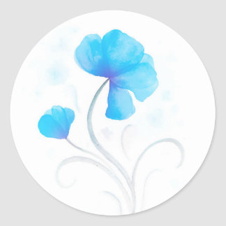 Watercolor flower blue wedding seal / sticker
