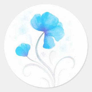 Watercolor flower blue wedding seal / sticker