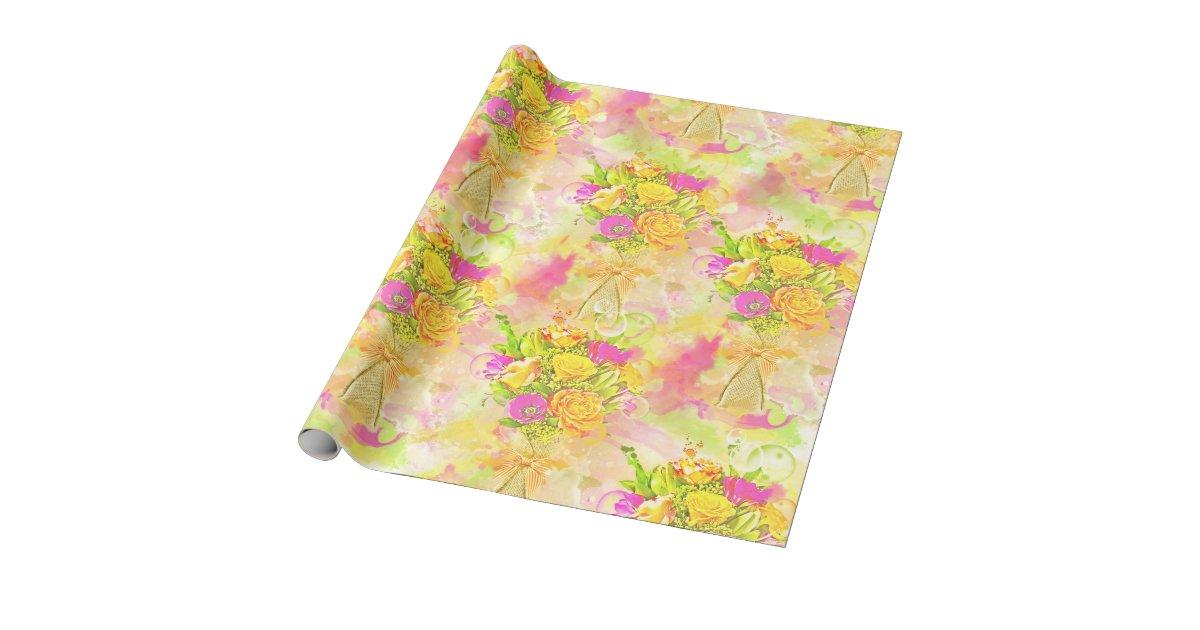 Watercolor Flower Bouquet Wrapping Paper Zazzle Com