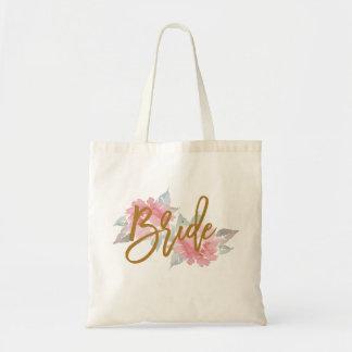 Watercolor Flower BRIDE Wedding Tote Bag